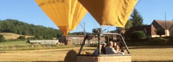 Vidéo d'atterrissage d'une montgolfière du Périgord