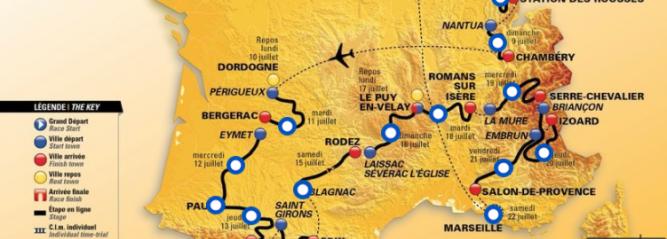 Image représentant le circuit du Tour de France 2017, qui passe en Dordogne