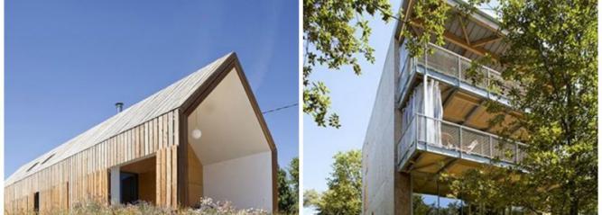 Image des deux maisons situées en dordogne nominées pour le concours Archinovo