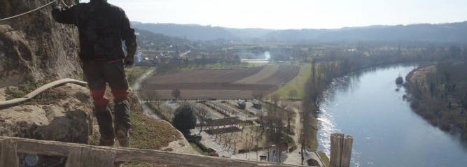 Photo du chantier de la Roque-Gageac (photographe Franck Delage)