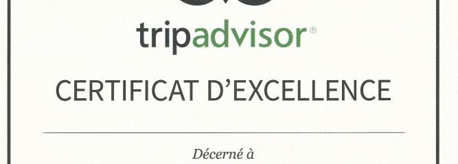 Image du certificat d'excellence Tripadvisor 2015 décerné aux Montgolfières du Périgord