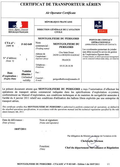 Image représentant la copie du CTA des Montgolfières du Périgord